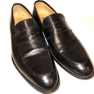 BARIONI LEATHER  BLACK DRESS SHOES MADE IN ITALY